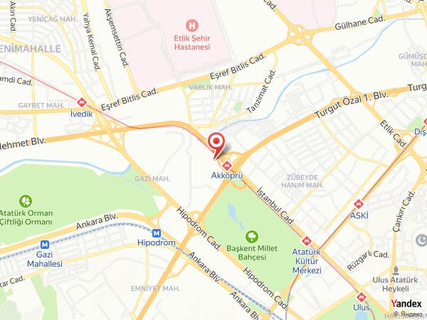 Crowne Plaza Ankara Yol Haritası