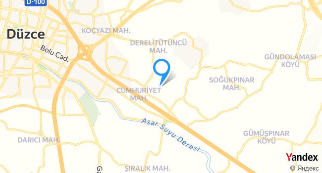 Güzeldere Şelalwsi haritadaki yeri görseli