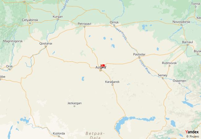 Astana haritadaki konumu