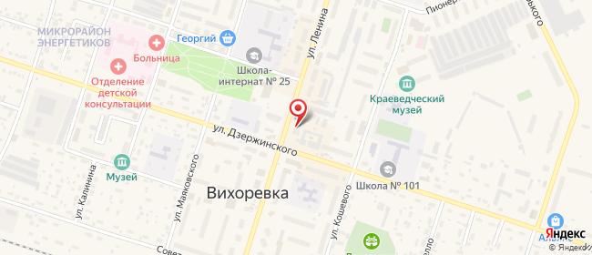 Карта расположения пункта доставки Билайн в городе Вихоревка