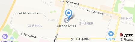 Средняя общеобразовательная школа №14 на карте Братска