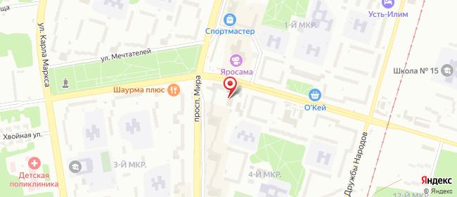 Карта расположения пункта доставки Ростелеком в городе Усть-Илимск