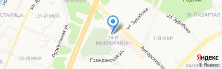 Автостоянка на ул. 14-й микрорайон на карте Ангарска