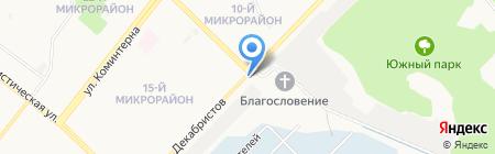 Автостоянка на ул. Декабристов на карте Ангарска