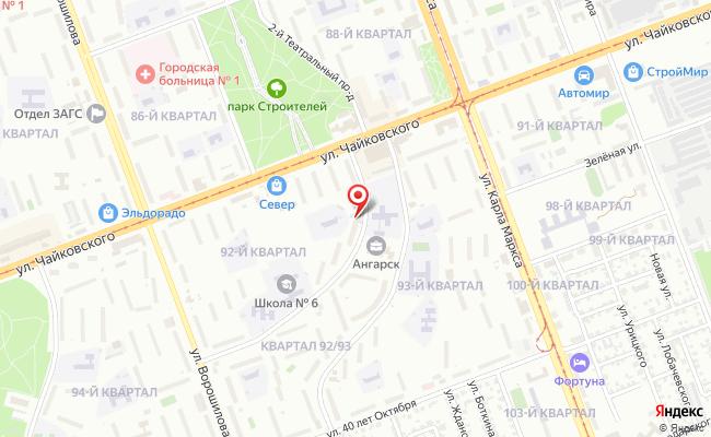 Карта расположения пункта доставки Ростелеком в городе Ангарск