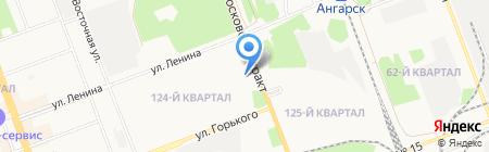 Автостоянка на ул. 124-й промкавртал на карте Ангарска
