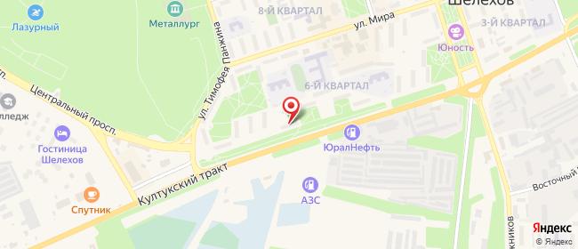 Карта расположения пункта доставки Ростелеком в городе Шелехов