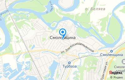 Местоположение на карте пункта техосмотра по адресу Иркутская обл, Иркутский р-н, с Смоленщина, ул Геологов, д 1