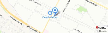 Автостоянка на ул. Баумана на карте Иркутска