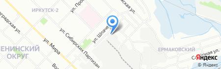 Автостоянка на ул. Шпачека на карте Иркутска