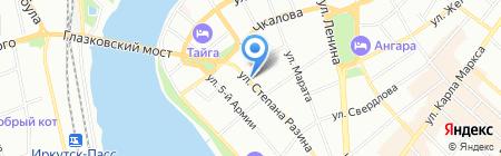 Корица на карте Иркутска
