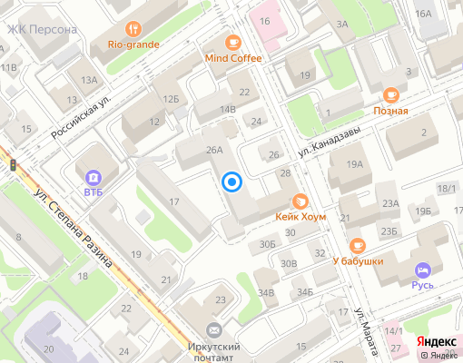 Управляющая компания «Троицкая» на карте Иркутска