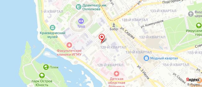 Карта расположения пункта доставки Радист в городе Иркутск