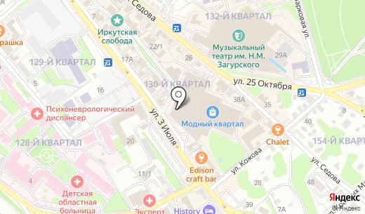 Адамас. Схема проезда в Иркутске