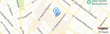 Парикмахерская на ул. Фурье на карте Иркутска