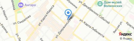 Нимфа на карте Иркутска