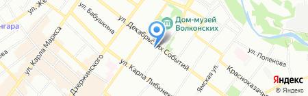 Антре на карте Иркутска