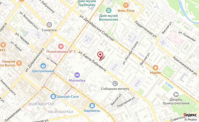 Карта расположения пункта доставки Ростелеком в городе Иркутск