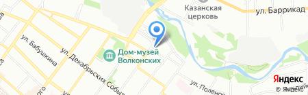 Байкальские росы на карте Иркутска