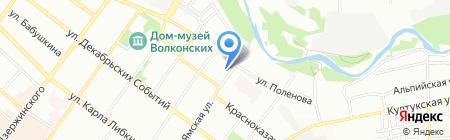Восход на карте Иркутска