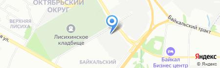 Теплая автостоянка на карте Иркутска