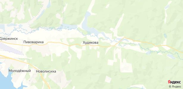 Худяково на карте