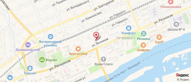 Карта расположения пункта доставки На Речников в городе Усть-Кут