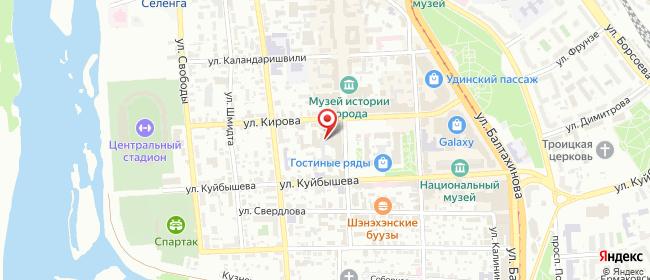 Карта расположения пункта доставки Улан-Удэ Кирова в городе Улан-Удэ