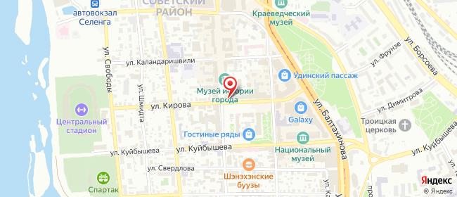 Карта расположения пункта доставки Билайн в городе Улан-Удэ