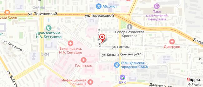 Карта расположения пункта доставки Улан-Удэ Павлова в городе Улан-Удэ