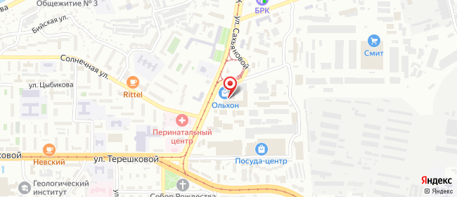 Карта расположения пункта доставки Улан-Удэ Сахьяновой в городе Улан-Удэ