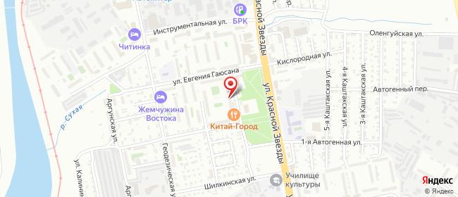 Карта расположения пункта доставки Чита Металлистов в городе Чита