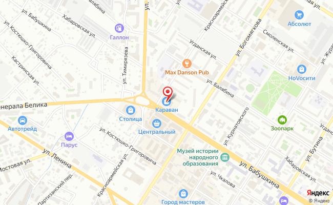 Карта расположения пункта доставки Чита Бабушкина в городе Чита