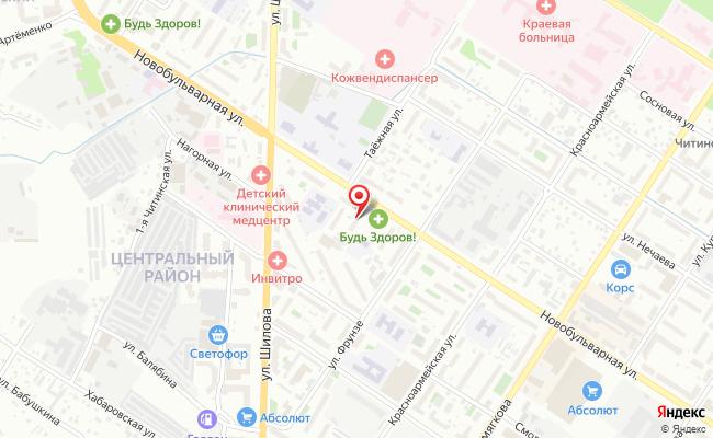 Карта расположения пункта доставки Чита Новобульварная в городе Чита