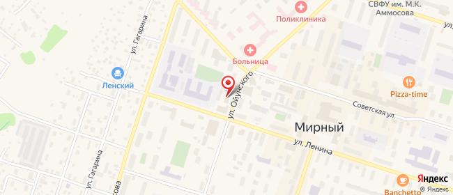 Карта расположения пункта доставки Ростелеком в городе Мирный