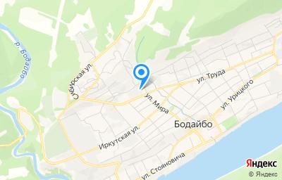 Местоположение на карте пункта техосмотра по адресу Иркутская обл, г Бодайбо, ул Артема Сергеева, д 9А