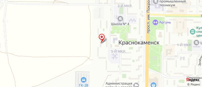 Карта расположения пункта доставки Ростелеком в городе Краснокаменск
