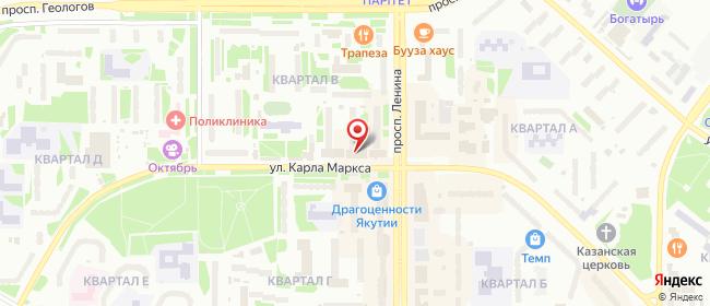 Карта расположения пункта доставки Westfalika в городе Нерюнгри