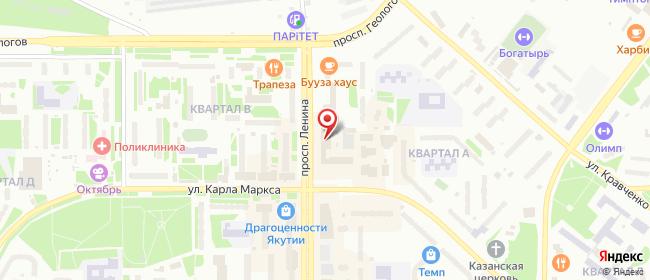 Карта расположения пункта доставки Ростелеком в городе Нерюнгри