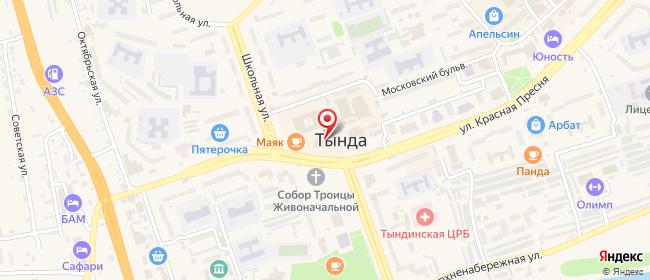 Карта расположения пункта доставки Ростелеком в городе Тында