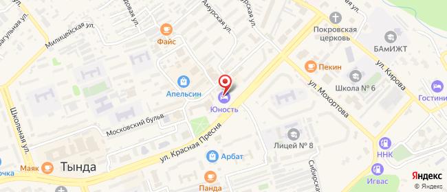 Карта расположения пункта доставки Тында Красная Пресня в городе Тында