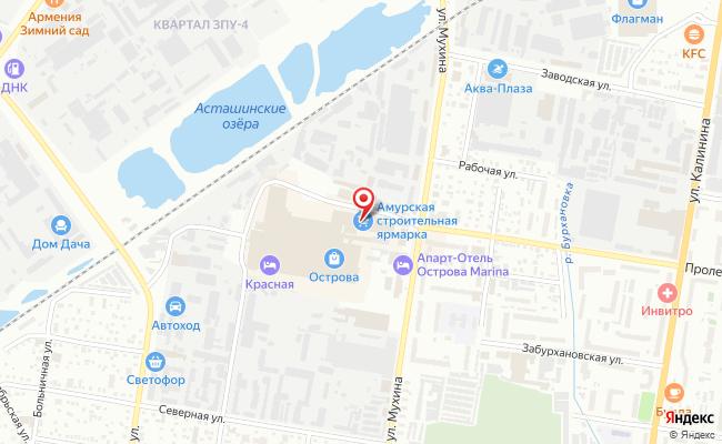 Карта расположения пункта доставки DPD Pickup в городе Благовещенск
