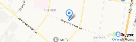 Амурский мясокомбинат на карте Благовещенска