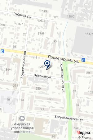 Автокомплекс на Высокой на карте Благовещенска