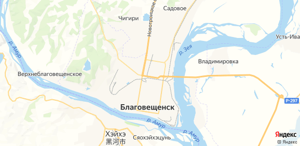 Благовещенск на карте