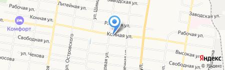 Продовольственный магазин на Конной на карте Благовещенска