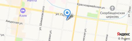 Автостоянка на ул. Горького на карте Благовещенска