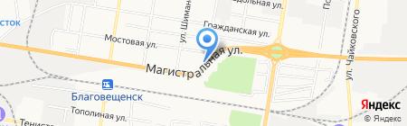 Шиномонтажная мастерская на Трудовой на карте Благовещенска