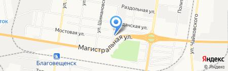 Территория шин на карте Благовещенска