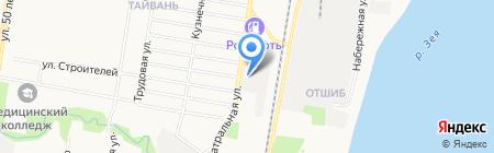 Автомойка на Театральной на карте Благовещенска